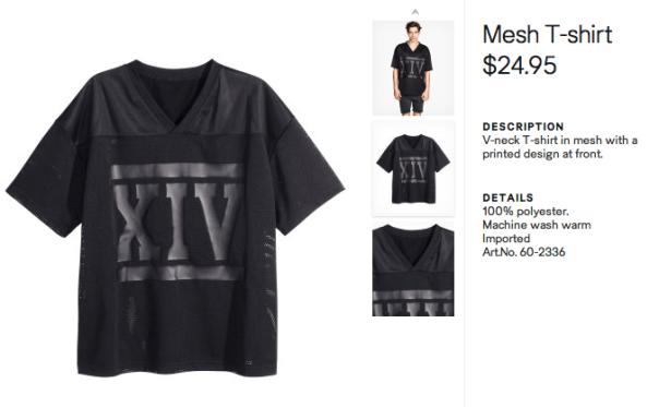 H&M Black Short Sleev Mesh Shirt availablel here for $