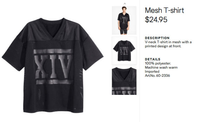 H&M Black Short Sleev Mesh Shirt availablel here for $